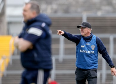 The two managers on the sideline in Cusack Park.