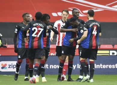Crystal Palace celebrate Christian Benteke's opener.