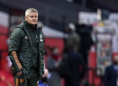 Ole Gunnar Solskjaer watches on as his scratch Man United side squares off with Leicester.