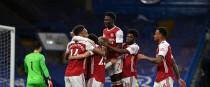 Arsenal's Emile Smith Rowe celebrates scoring with teammates.