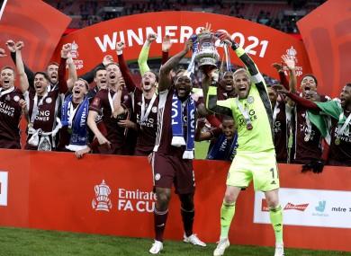 Leicester City celebrate.