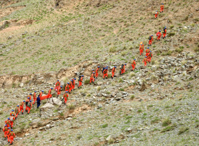 Rescuers search for victims in Jingtai County of Baiyin City, northwest China's Gansu Province.