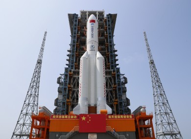 The Long March-5B rocket being readied for space before its April 23 launch.