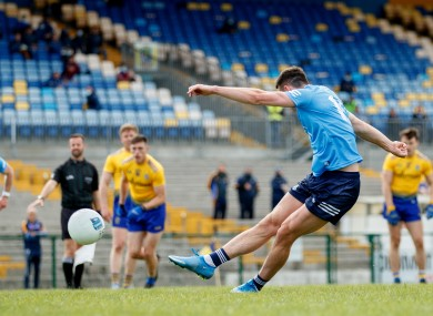 Dublin's Cormac Costello scores a point from a late penalty.