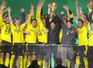 Dortmund players and staff celebrate.
