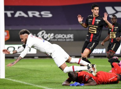 Neymar in action for PSG and Rennes.