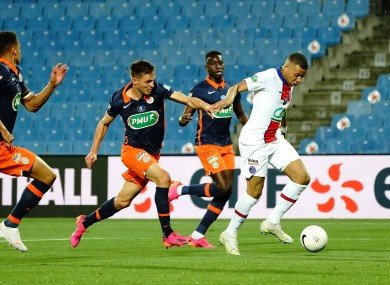Kylian Mbappe in action against Montpellier.