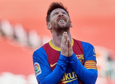 Lionel Messi cuts a frustrated figure in Barcelona's 0-0 draw with Atletico Madrid