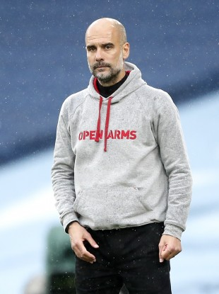 Manchester City manager Pep Guardiola during the Premier League match at the Etihad Stadium.