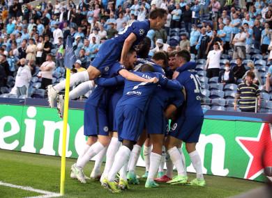 Kai Havertz celebrates scoring with team-mates.