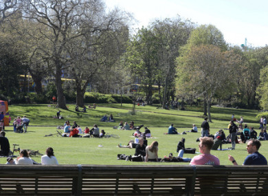 Crowds in Merrion Square on a sunny day this spring.