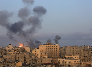 Explosions following Israeli airstrikes in the southern Gaza Strip city of Khan Younis.