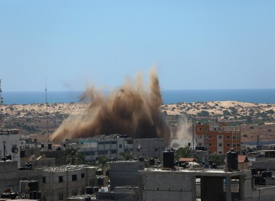 Explosions following Israeli airstrikes in the southern Gaza Strip city of Rafah