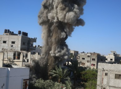 Explosions following an Israeli airstrike in the southern Gaza Strip city of Rafah.