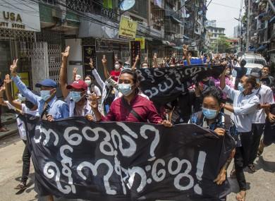 Anti-coup protestors in Yangon last week