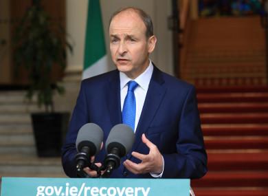 Taoiseach Micheal Martin addresses the nation.