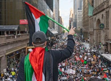 Hundreds of people participated in a rally in New York on Monday.