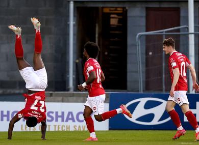 Romeo Parkes celebrates his winning goal.