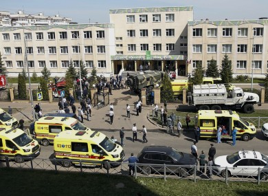 The scene of this morning's shooting in Kazan, Russia.