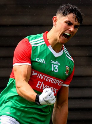 Mayo's Tommy Conroy celebrates scoring the first goal of the game.