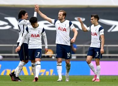 Harry Kane celebrates his goal.
