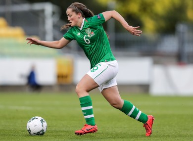 Tyler Toland facing Montenegro in her last appearance for Ireland in 2019.