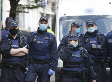 Gardaí patrolling in Dublin city yesterday evening.