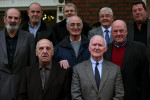 A number of the 'Hooded Men' (front row left right) Michael Donnelly and Liam Shannon, (middle row left- right) Kevin Hannaway, Gerry McKerr, and Jim Auld, (back row left - right) Patrick McNally, Brian Turley, Francis McGuigan, and Joe Clarke, outside Buswell's Hotel in Dublin in 2014.