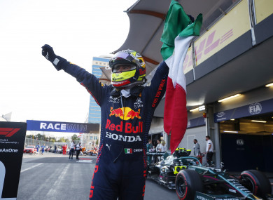 The victorious Sergio Perez.