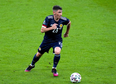 Scotland's Billy Gilmour in action against England.