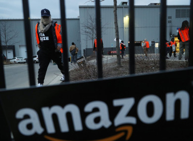 A 'safety strike' at an Amazon delivery station in Chicago. File photo.