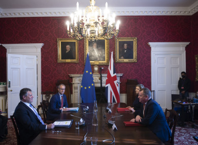 Maros Sefcovic, left, and UK Brexit minister David Frost have been leading talks on the issue