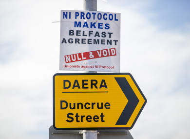 A sign pictured in Larne on 8 March.