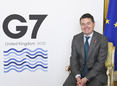 Irish Finance Minister and Eurogroup President Paschal Donohoe at the G7 conference today.