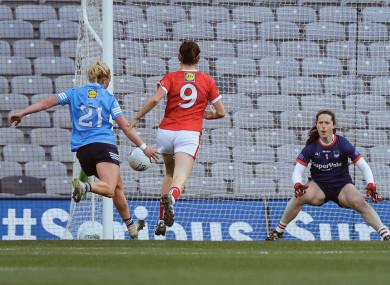 Carla Rowe finds the net for Dublin.