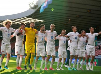 Czech Republic gesture to the fans after the UEFA Euro 2020 Group D match at Hampden Park.
