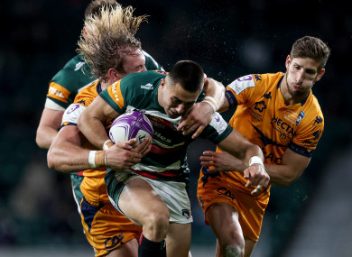 Leicester's Kelly in action against Montpellier.
