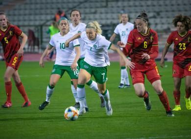 Diane Caldwell facing Belgium in a recent friendly.