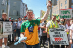 Paddy Diver, mica campaigner and co-founder of '100% Redress No Less', as he displays examples of the mica material. He was with large crowds of people from Donegal and Mayo outside Government Buildings this week.