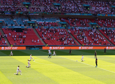 England players take the knee as Croatia players stand ahead of their Euro 2020 Group D match at Wembley last weekend.