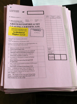 File photo of a Leaving Cert exam paper