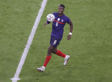 France's Paul Pogba on the ball against Germany.