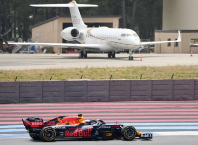 Red Bull's Max Verstappen on his way to winning.