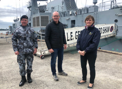 Chief of Staff of the Irish Defence Forces Vice Admiral Mark Mellett, Minister for Defence and Foreign Affairs Simon Coveney and Department of Defence Secretary General Jacqui McCrum