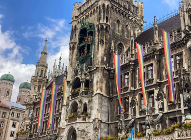 Munich has equipped its city hall with huge rainbow flags in response to its dispute with Uefa.