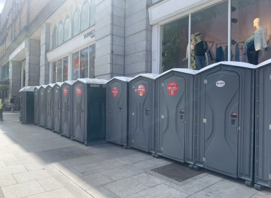 Newly installed portaloos on South King Street