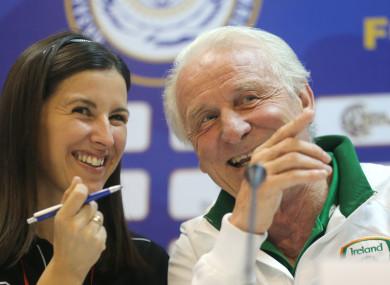 Manuela Spinelli and Giovanni Trapattoni pictured at a press conference.