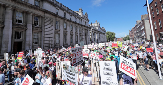 Thousands protest in Dublin calling for 100% redress for homeowners hit by Mica scandal