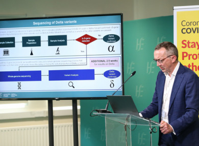 Dr Colm Henry at yesterday's HSE briefing