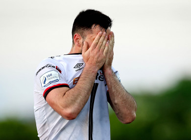 Patrick Hoban dejected after the game.